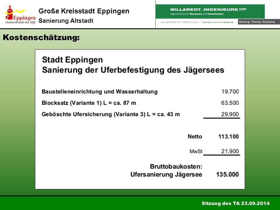Kleines Feldlein 3 74889 Sinsheim Internet: www.ib-willaredt.de Sitzung des TA 23.09.2014 Große Kreisstadt Eppingen Sanierung Altstadt Kostenschätzung: