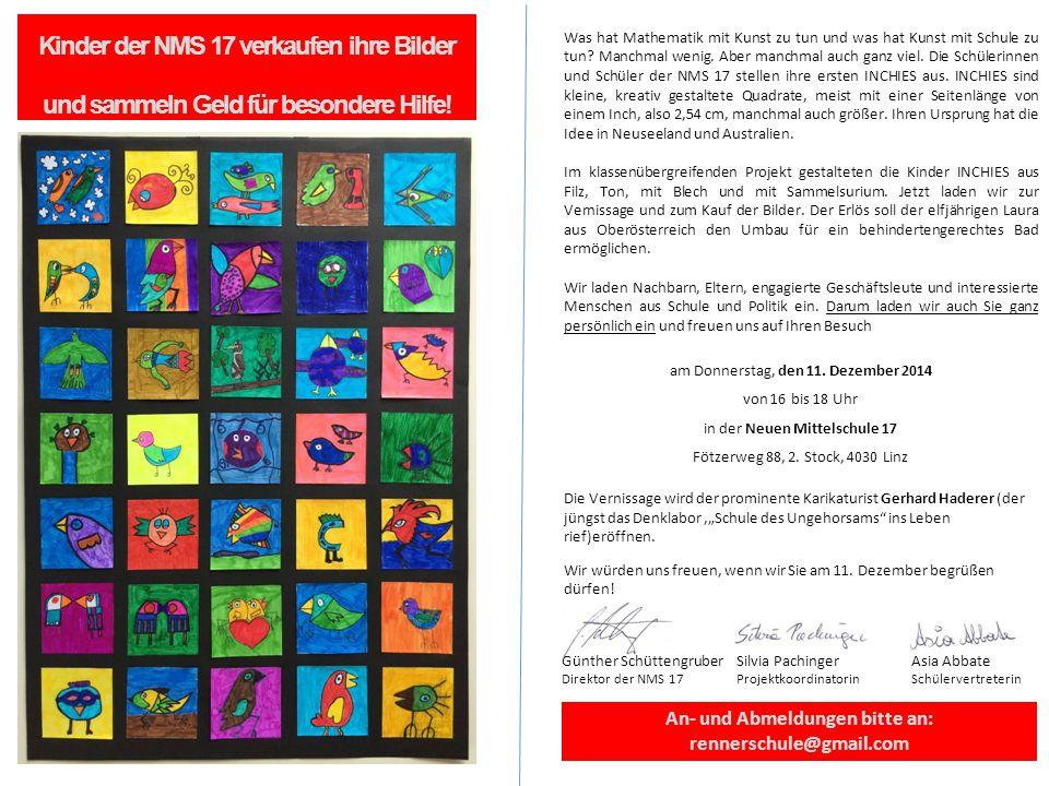 Kinder der NMS 17 verkaufen ihre Bilder und sammeln Geld für besondere Hilfe.