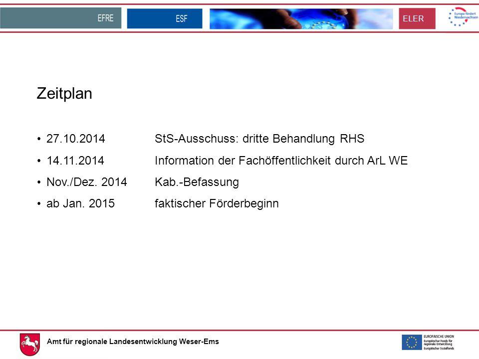 ELER Zeitplan 27.10.2014StS-Ausschuss: dritte Behandlung RHS 14.11.2014Information der Fachöffentlichkeit durch ArL WE Nov./Dez.