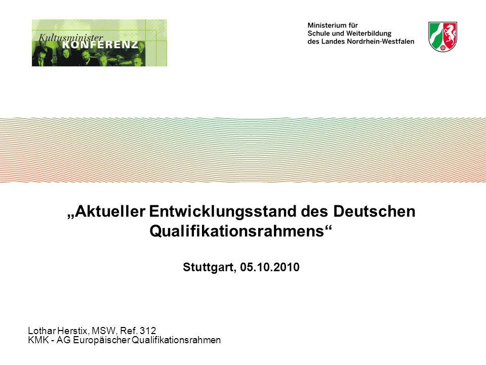 """""""Aktueller Entwicklungsstand des Deutschen Qualifikationsrahmens Stuttgart, 05.10.2010 Lothar Herstix, MSW, Ref."""