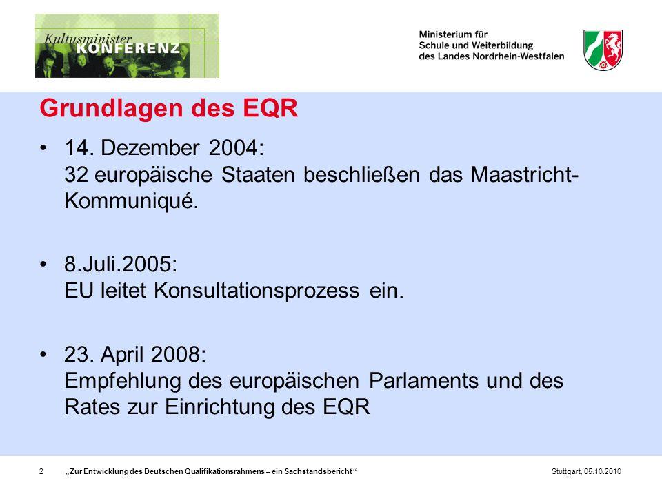 """""""Zur Entwicklung des Deutschen Qualifikationsrahmens – ein Sachstandsbericht 2Stuttgart, 05.10.2010 Grundlagen des EQR 14."""