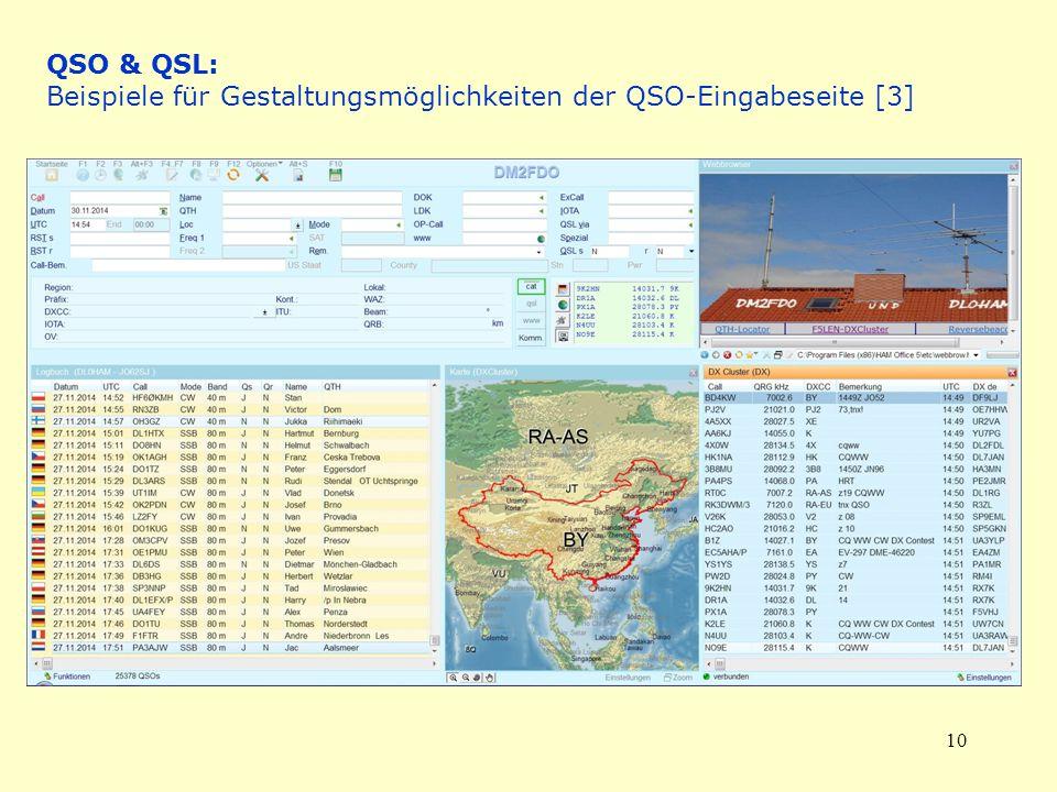 10 QSO & QSL: Beispiele für Gestaltungsmöglichkeiten der QSO-Eingabeseite [3]