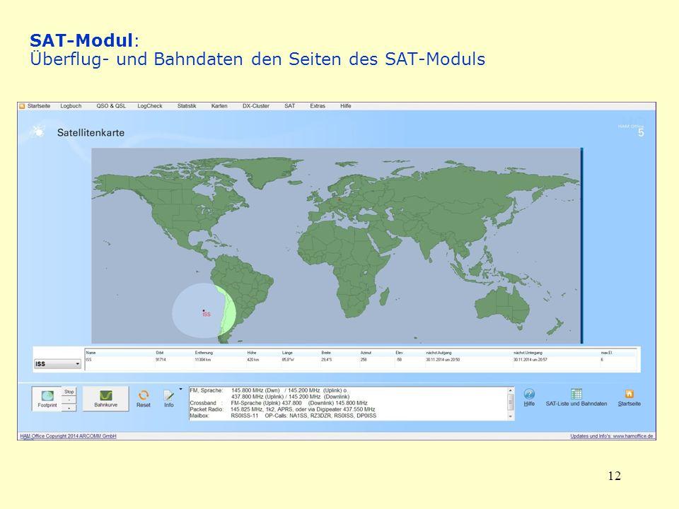 12 SAT-Modul: Überflug- und Bahndaten den Seiten des SAT-Moduls