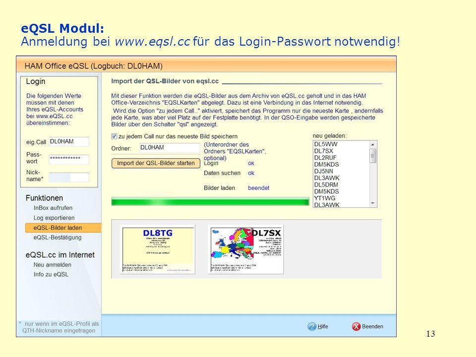 13 eQSL Modul: Anmeldung bei www.eqsl.cc für das Login-Passwort notwendig!