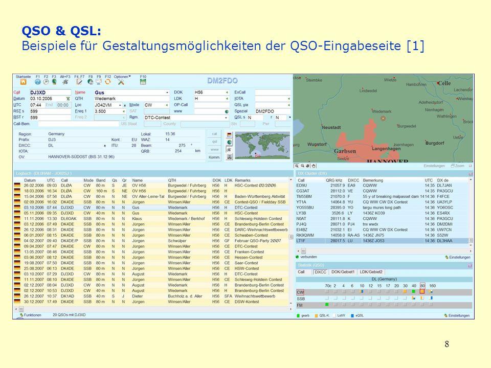 8 QSO & QSL: Beispiele für Gestaltungsmöglichkeiten der QSO-Eingabeseite [1]