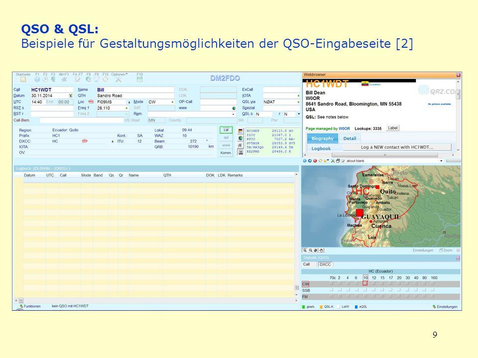 9 QSO & QSL: Beispiele für Gestaltungsmöglichkeiten der QSO-Eingabeseite [2]