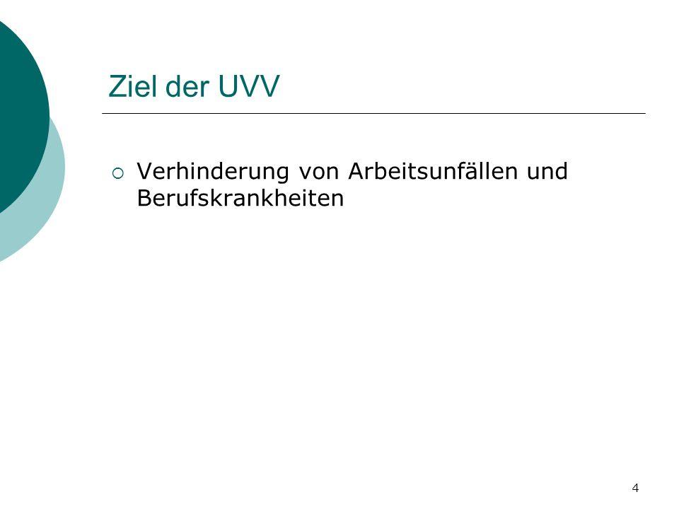4 Ziel der UVV  Verhinderung von Arbeitsunfällen und Berufskrankheiten