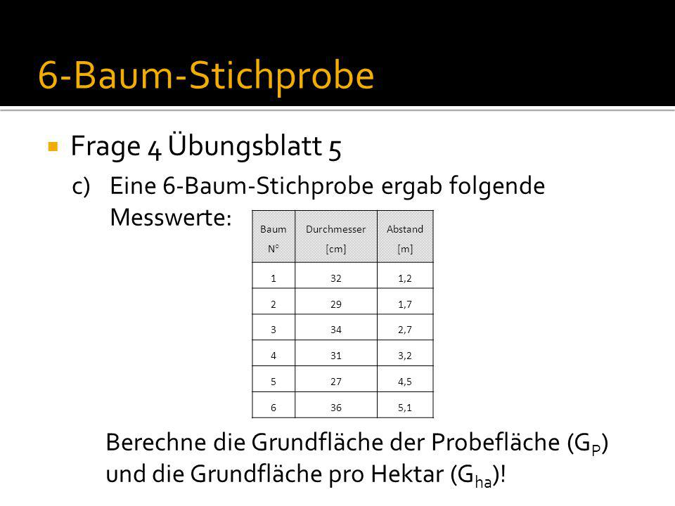  Frage 4 Übungsblatt 5 c)Eine 6-Baum-Stichprobe ergab folgende Messwerte: Berechne die Grundfläche der Probefläche (G P ) und die Grundfläche pro Hektar (G ha ).