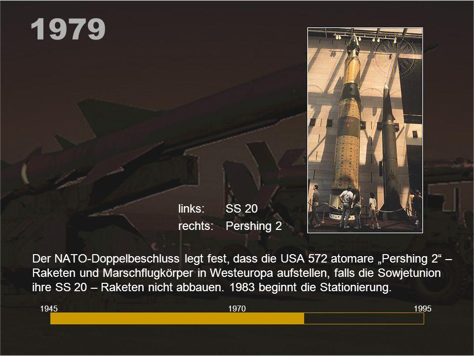 """1979 Der NATO-Doppelbeschluss legt fest, dass die USA 572 atomare """"Pershing 2"""" – Raketen und Marschflugkörper in Westeuropa aufstellen, falls die Sowj"""