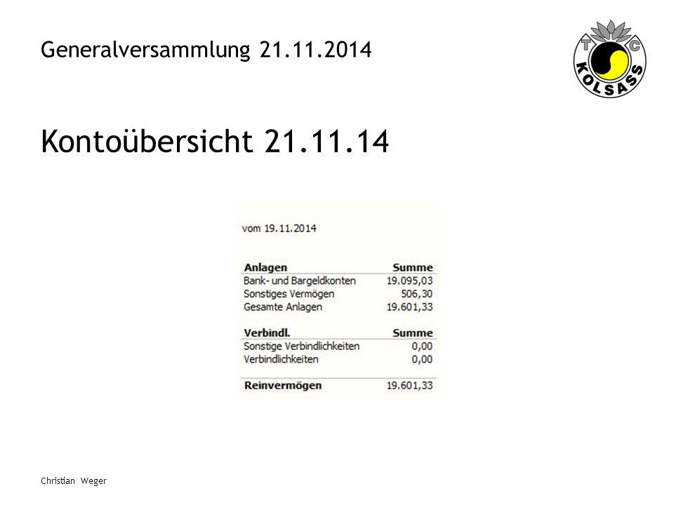Generalversammlung 21.11.2014 Kontoübersicht 21.11.14 Christian Weger
