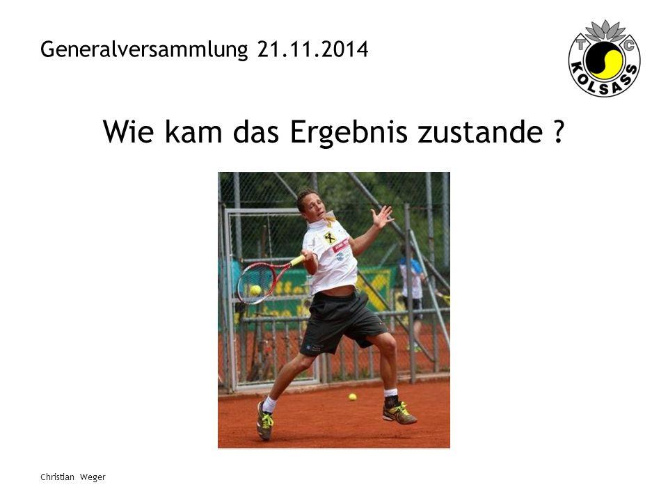 Generalversammlung 21.11.2014 Wie kam das Ergebnis zustande ? Christian Weger