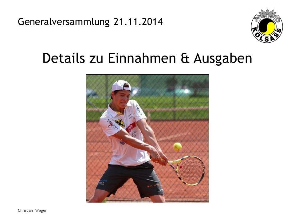 Generalversammlung 21.11.2014 Details zu Einnahmen & Ausgaben Christian Weger