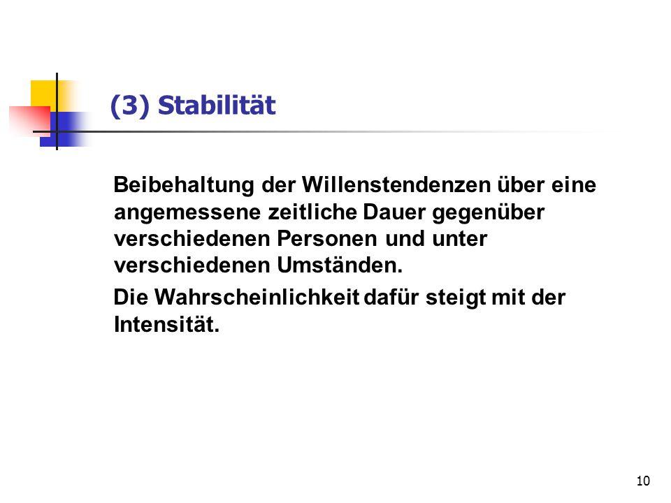 10 (3) Stabilität Beibehaltung der Willenstendenzen über eine angemessene zeitliche Dauer gegenüber verschiedenen Personen und unter verschiedenen Ums