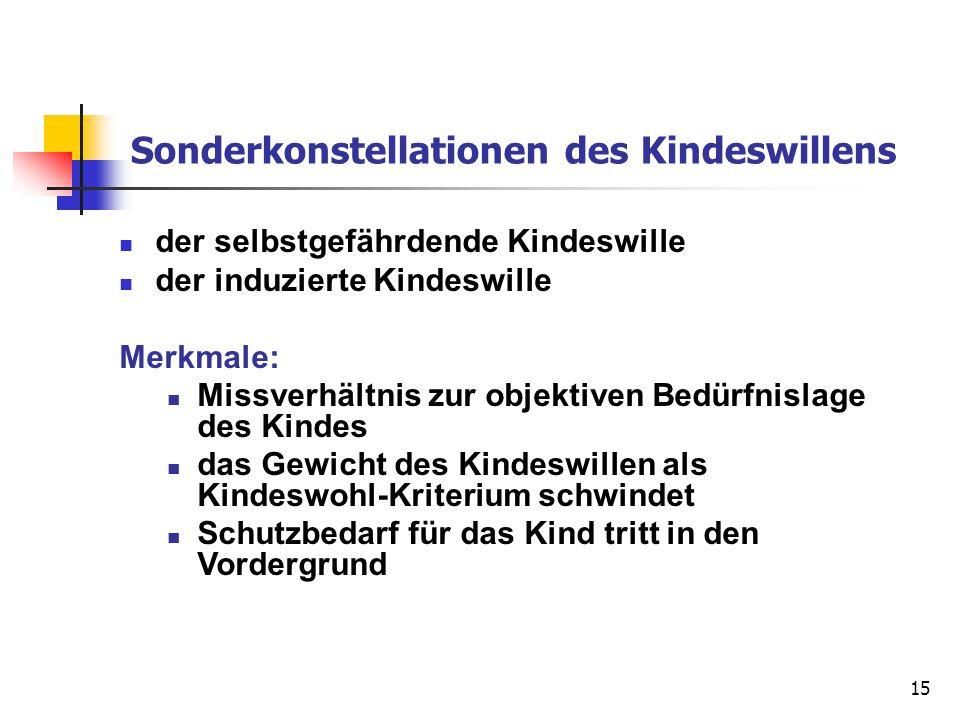 15 Sonderkonstellationen des Kindeswillens der selbstgefährdende Kindeswille der induzierte Kindeswille Merkmale: Missverhältnis zur objektiven Bedürf