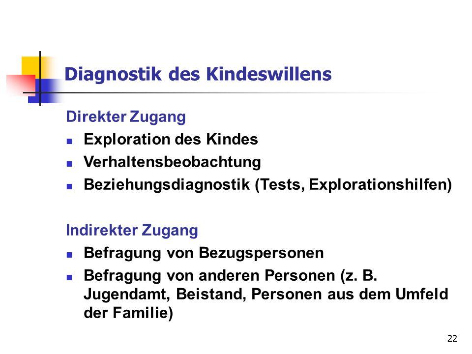 22 Diagnostik des Kindeswillens Direkter Zugang Exploration des Kindes Verhaltensbeobachtung Beziehungsdiagnostik (Tests, Explorationshilfen) Indirekt
