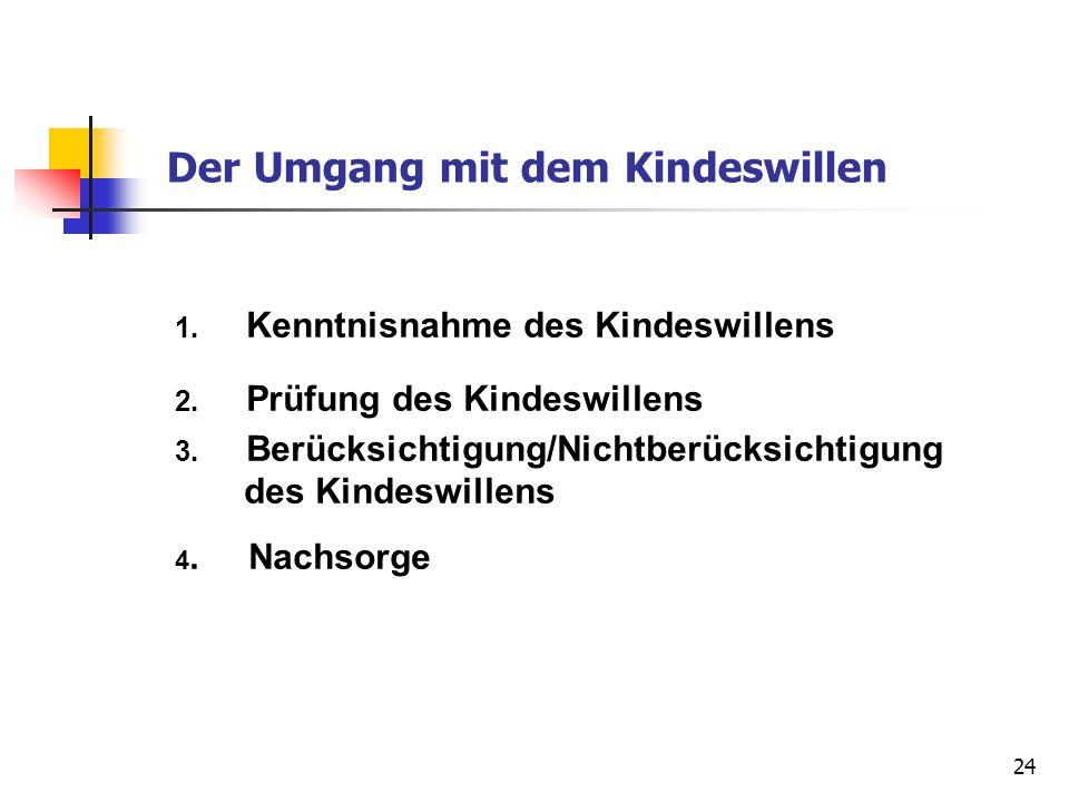 24 Der Umgang mit dem Kindeswillen 1. Kenntnisnahme des Kindeswillens 2. Prüfung des Kindeswillens 3. Berücksichtigung/Nichtberücksichtigung des Kinde