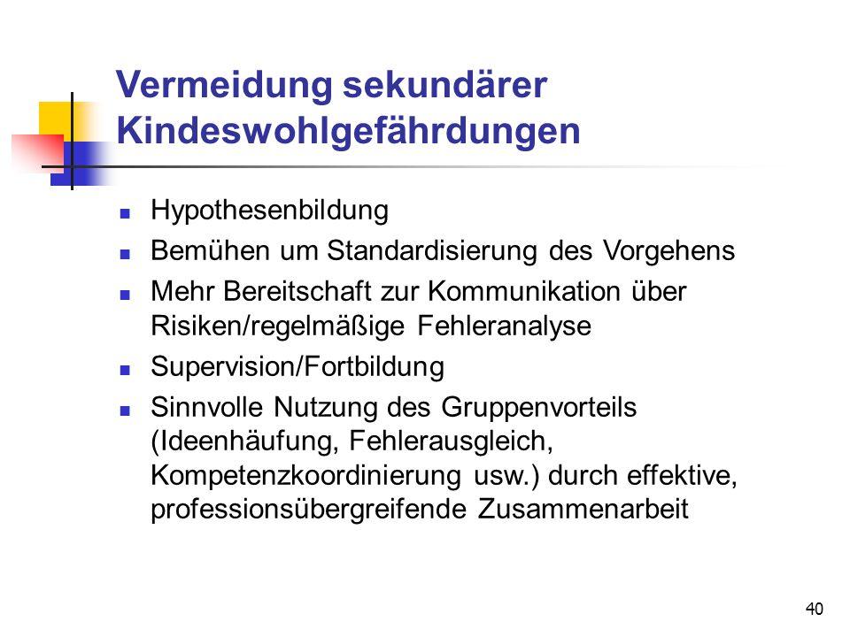 40 Vermeidung sekundärer Kindeswohlgefährdungen Hypothesenbildung Bemühen um Standardisierung des Vorgehens Mehr Bereitschaft zur Kommunikation über R