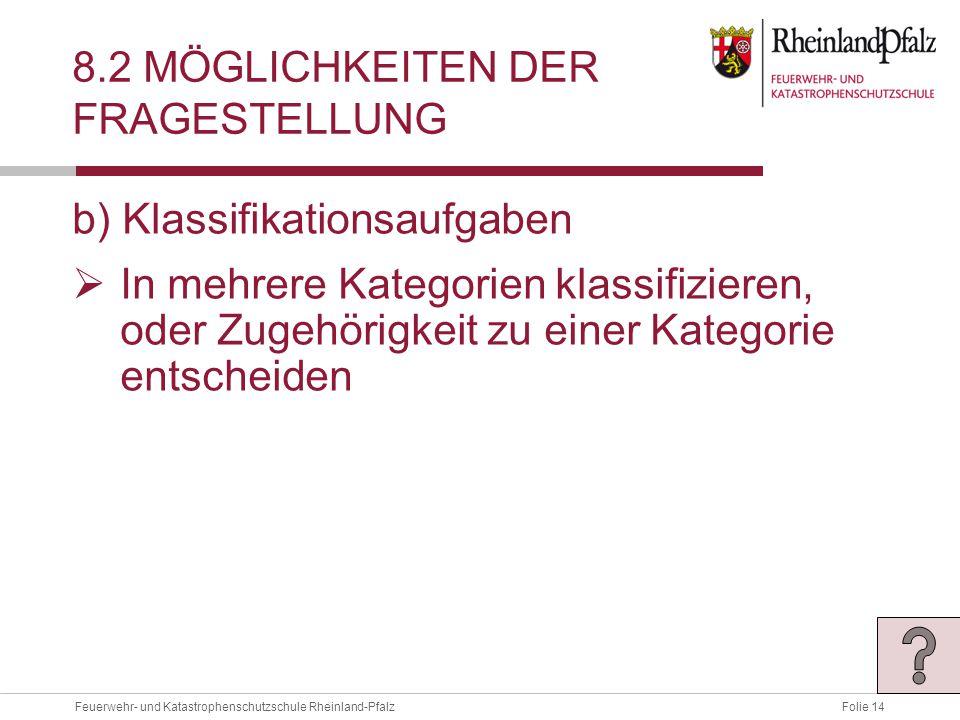 Folie 14Feuerwehr- und Katastrophenschutzschule Rheinland-Pfalz 8.2 MÖGLICHKEITEN DER FRAGESTELLUNG b) Klassifikationsaufgaben  In mehrere Kategorien klassifizieren, oder Zugehörigkeit zu einer Kategorie entscheiden