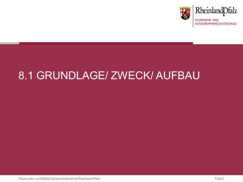 Folie 2 Feuerwehr- und Katastrophenschutzschule Rheinland-Pfalz 8.1 GRUNDLAGE/ ZWECK/ AUFBAU
