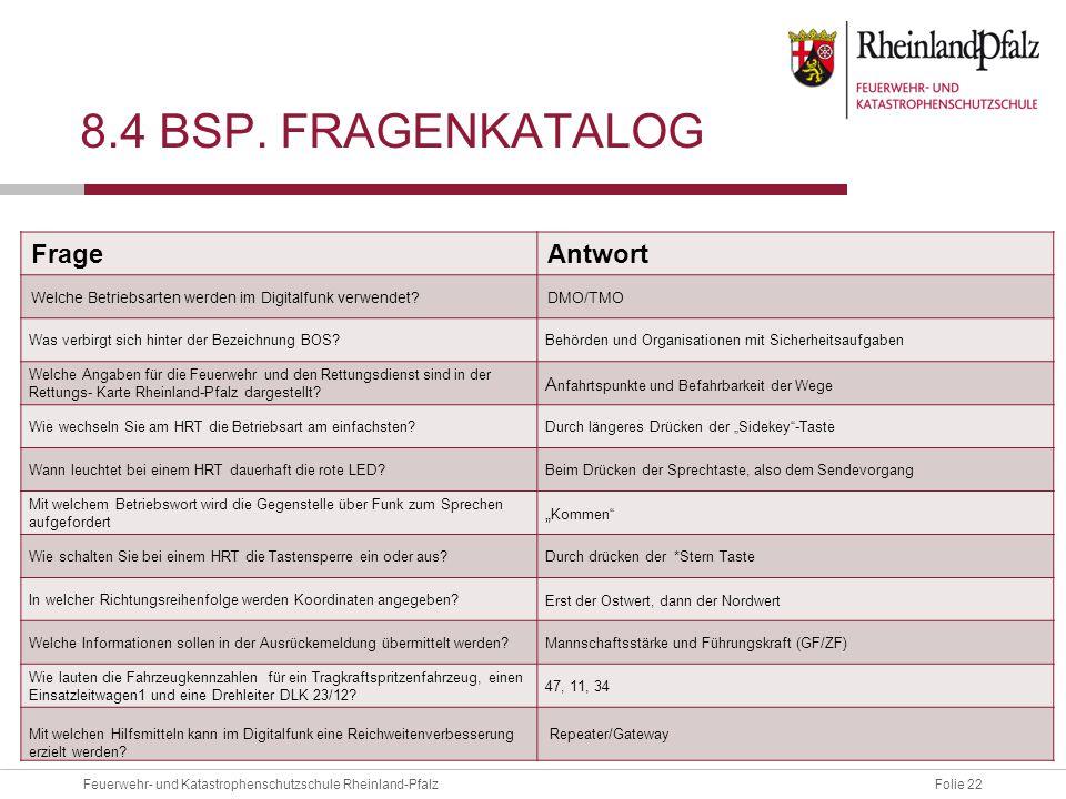 Folie 22Feuerwehr- und Katastrophenschutzschule Rheinland-Pfalz 8.4 BSP.