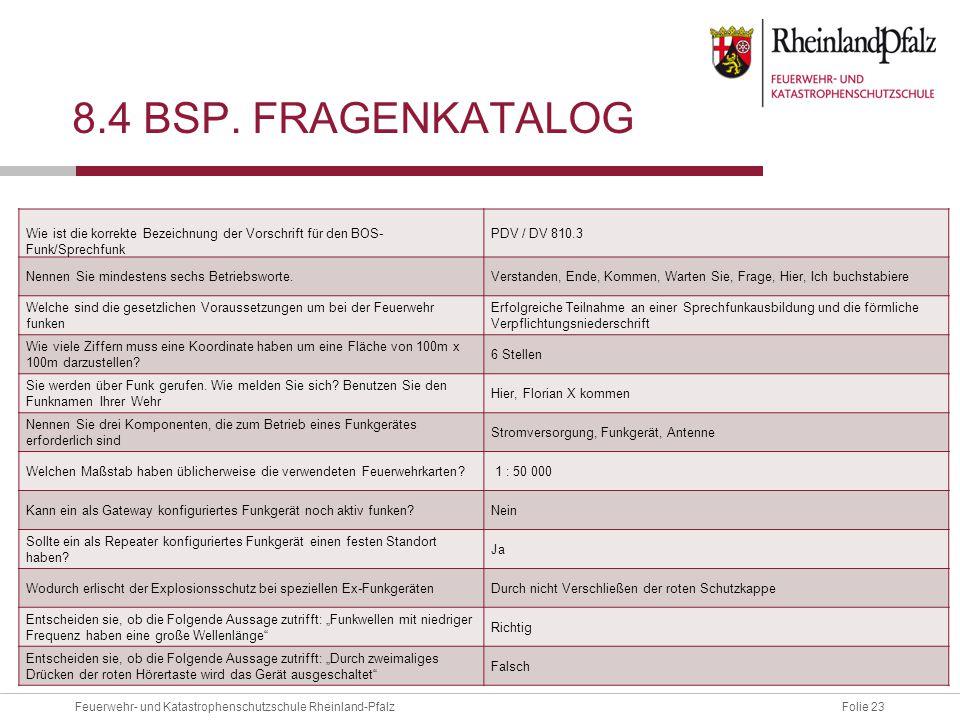 Folie 23Feuerwehr- und Katastrophenschutzschule Rheinland-Pfalz 8.4 BSP.