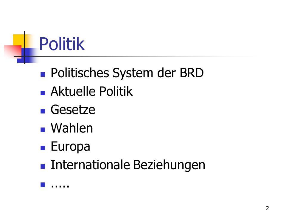2 Politik Politisches System der BRD Aktuelle Politik Gesetze Wahlen Europa Internationale Beziehungen.....