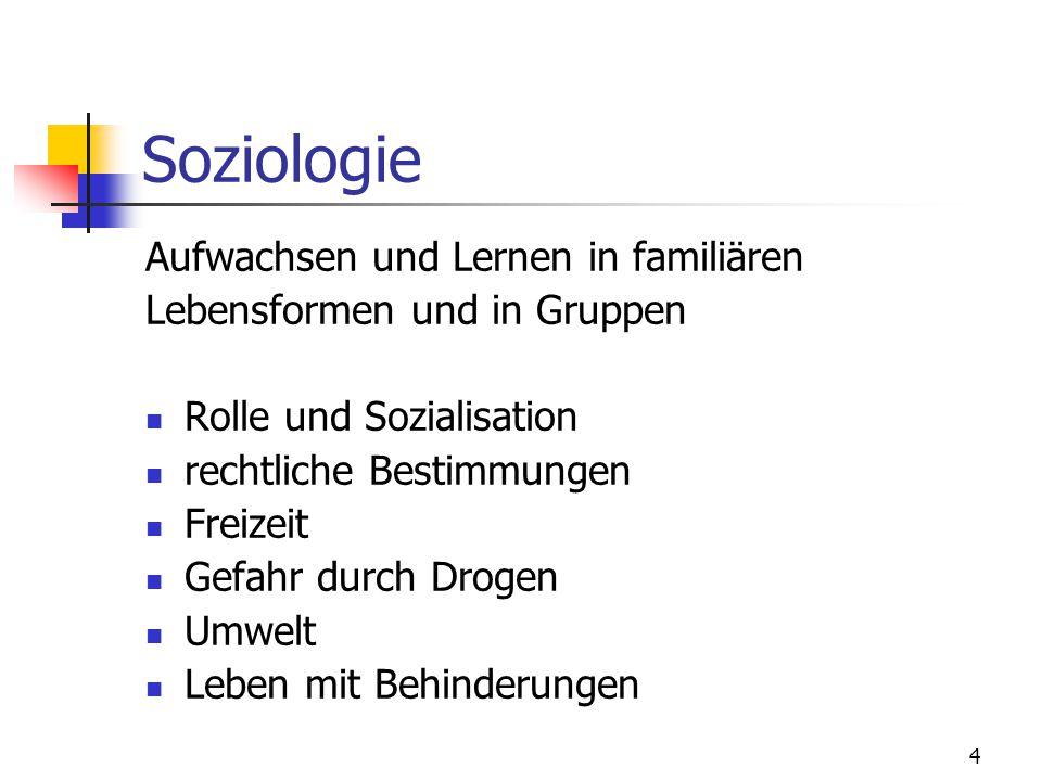 4 Soziologie Aufwachsen und Lernen in familiären Lebensformen und in Gruppen Rolle und Sozialisation rechtliche Bestimmungen Freizeit Gefahr durch Dro