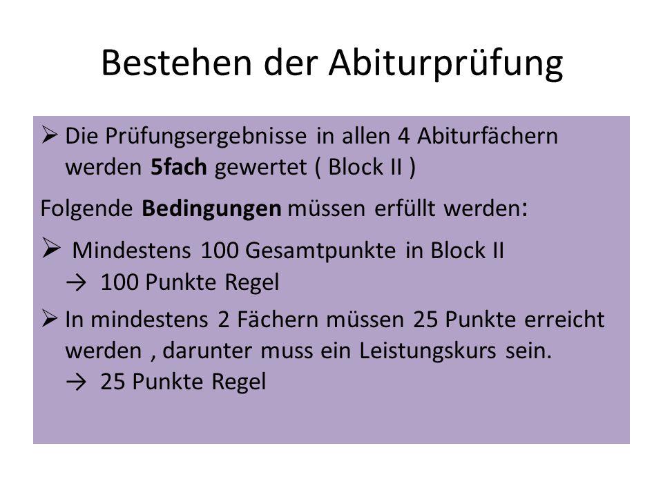 Bestehen der Abiturprüfung  Die Prüfungsergebnisse in allen 4 Abiturfächern werden 5fach gewertet ( Block II ) Folgende Bedingungen müssen erfüllt we