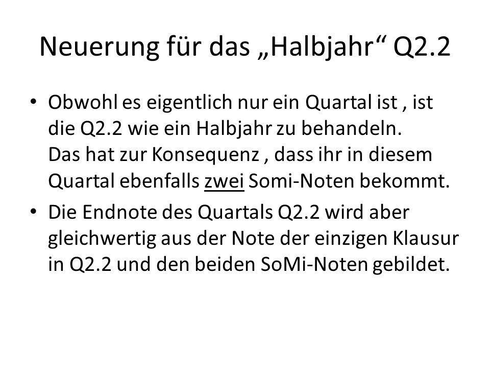 """Neuerung für das """"Halbjahr"""" Q2.2 Obwohl es eigentlich nur ein Quartal ist, ist die Q2.2 wie ein Halbjahr zu behandeln. Das hat zur Konsequenz, dass ih"""