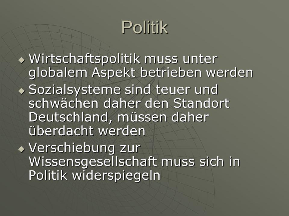 Politik  Wirtschaftspolitik muss unter globalem Aspekt betrieben werden  Sozialsysteme sind teuer und schwächen daher den Standort Deutschland, müss