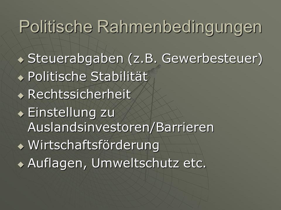 Politische Rahmenbedingungen  Steuerabgaben (z.B. Gewerbesteuer)  Politische Stabilität  Rechtssicherheit  Einstellung zu Auslandsinvestoren/Barri