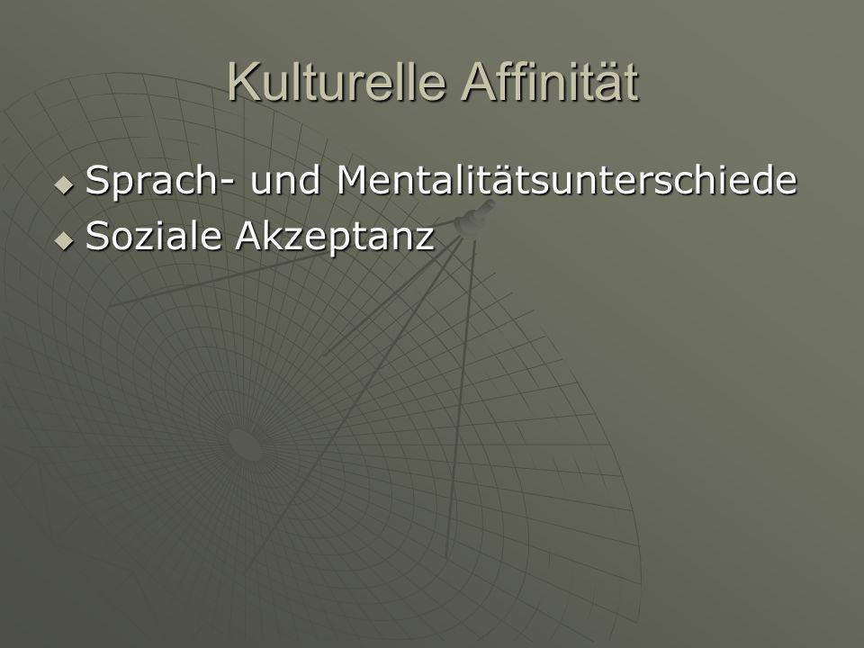 Kulturelle Affinität  Sprach- und Mentalitätsunterschiede  Soziale Akzeptanz