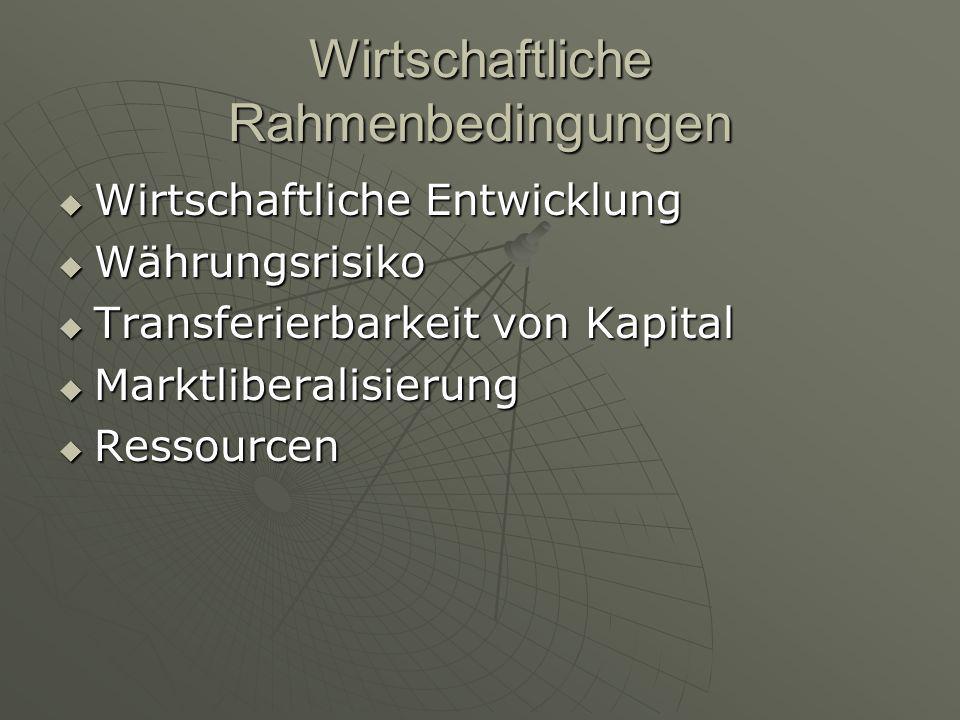 """Absatzmarkt  Marktgröße und –wachstum  Absatzpotential  """"Geostrategische Bedeutung  Anzahl/Verfügbarkeit v."""