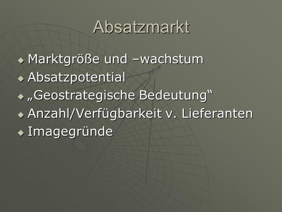 """Absatzmarkt  Marktgröße und –wachstum  Absatzpotential  """"Geostrategische Bedeutung""""  Anzahl/Verfügbarkeit v. Lieferanten  Imagegründe"""