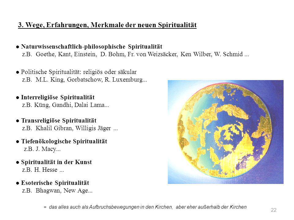 22 3. Wege, Erfahrungen, Merkmale der neuen Spiritualität ● Naturwissenschaftlich-philosophische Spiritualität z.B. Goethe, Kant, Einstein, D. Bohm, F