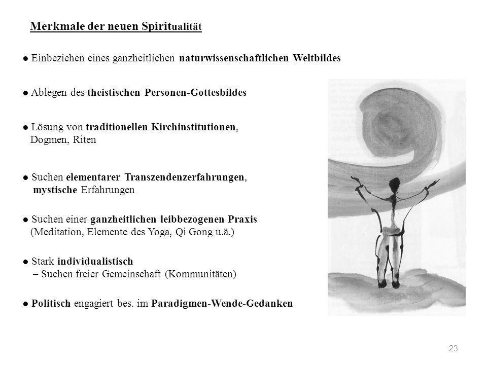23 Merkmale der neuen Spirit ualität ● Ablegen des theistischen Personen-Gottesbildes ● Einbeziehen eines ganzheitlichen naturwissenschaftlichen Weltb