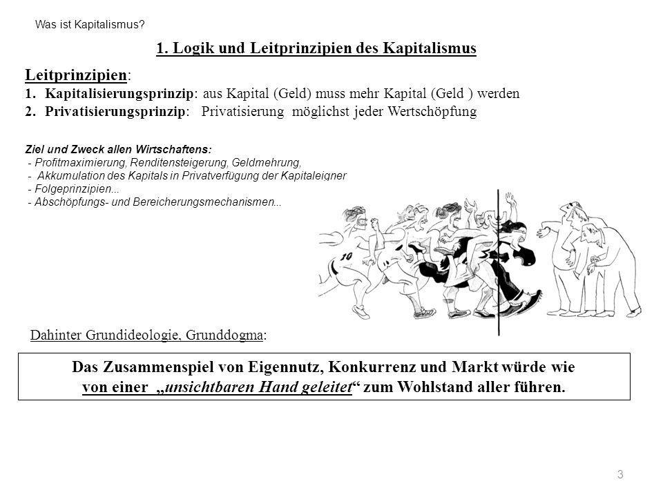1. Logik und Leitprinzipien des Kapitalismus 3 Leitprinzipien: 1.Kapitalisierungsprinzip: aus Kapital (Geld) muss mehr Kapital (Geld ) werden 2.Privat
