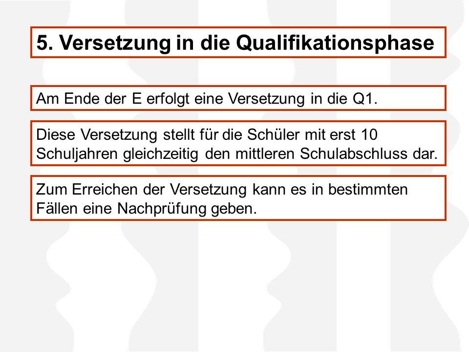 5. Versetzung in die Qualifikationsphase Am Ende der E erfolgt eine Versetzung in die Q1.