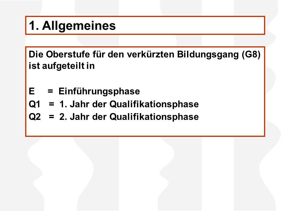 Die Oberstufe für den verkürzten Bildungsgang (G8) ist aufgeteilt in E = Einführungsphase Q1 = 1.