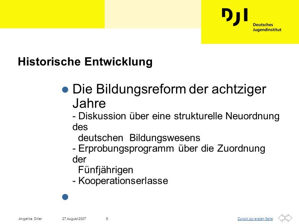 Zurück zur ersten Seite27.August 2007Angelika DillerS l Vernetzung meint das Herstellen einer tragenden Struktur, die Planungs- und Abstimmungsprozesse zwischen unterschiedlichen Institutionen möglich macht, und Schnittstellen ausgestaltet.