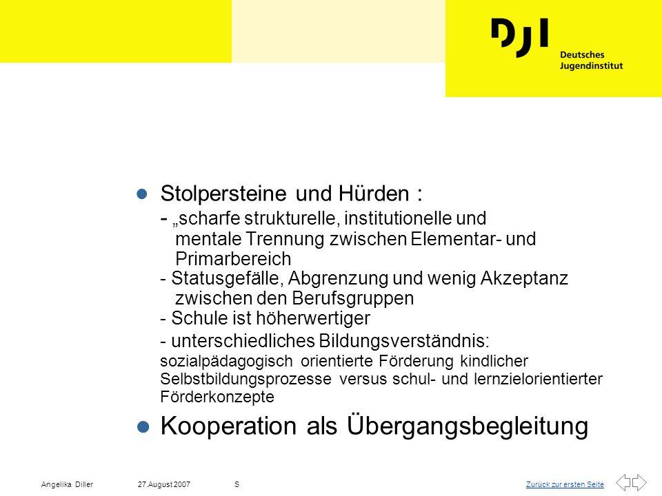 """Zurück zur ersten Seite27.August 2007Angelika DillerS l Kooperationsprozesse sind keine Selbstläufer, vielmehr beinhaltet es ein """"normales fachliches, methodisches Vorgehen."""