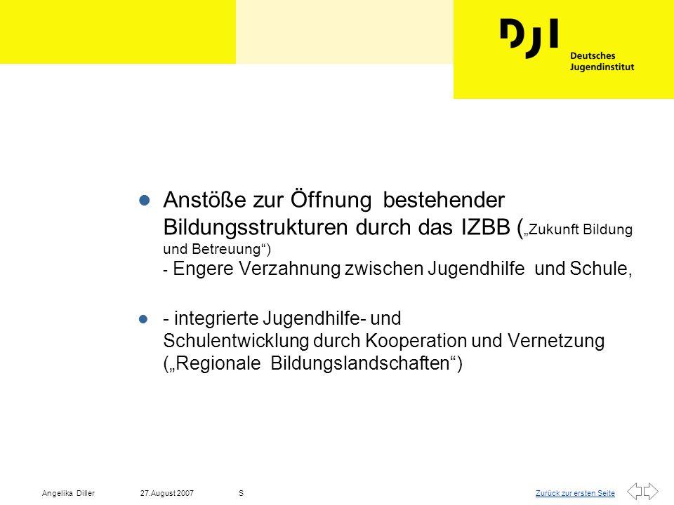 """Zurück zur ersten Seite27.August 2007Angelika DillerS l """"Netzwerkarbeit : Fachpolitische Herausforderung in allen sozialen Handlungsfeldern - Gesellschaftspolitischer Kontext."""