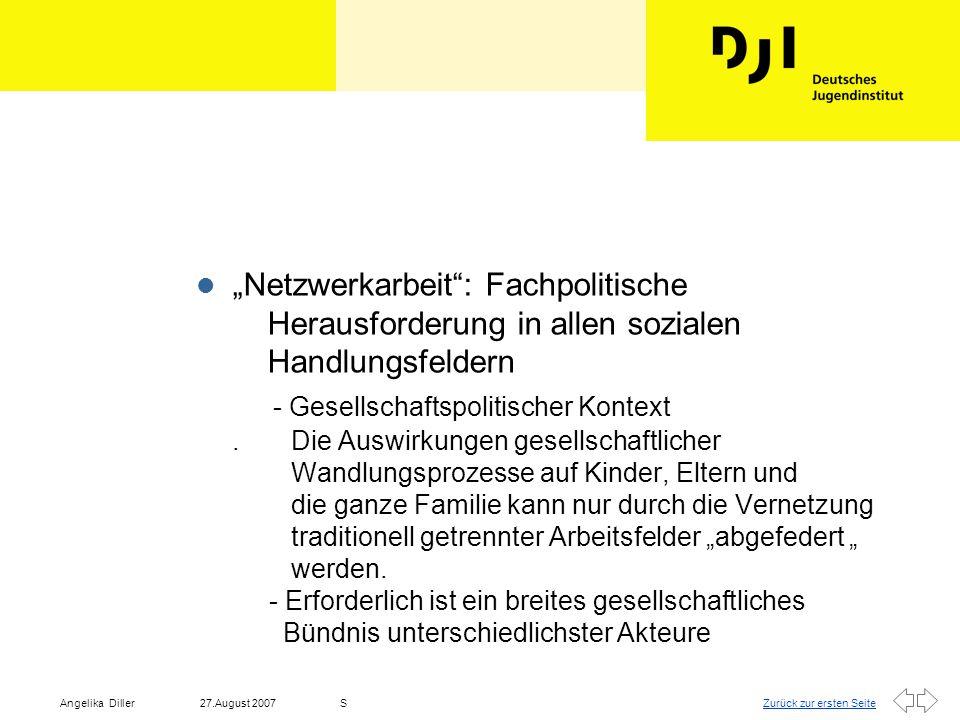 Zurück zur ersten Seite27.August 2007Angelika DillerS l Institutionen/Handlungsfelder entwickeln spezifische Fachstandards, Akteurslogiken, Arbeitsfeldkulturen und eigene Finanzierungsregeln, das Verständnis über Zielgruppen/Nutzer kann höchst unterschiedlich sein.