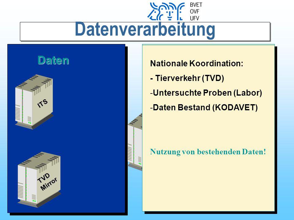 Datenverarbeitung ITS TVD TVDMirror WWW WWWServer Daten - Betriebsdaten (Ag -Status) aller betreuten Betriebe - Grundlage für Rechnungs- stellung an Kanton - eigene Betriebsdaten - Ag-Status eines beliebigen Tieres (Zuauf) - BVD-Status eines beliebigen Betriebs (Zukauf) Nationale Koordination: - Tierverkehr (TVD) -Untersuchte Proben (Labor) -Daten Bestand (KODAVET) Nutzung von bestehenden Daten!