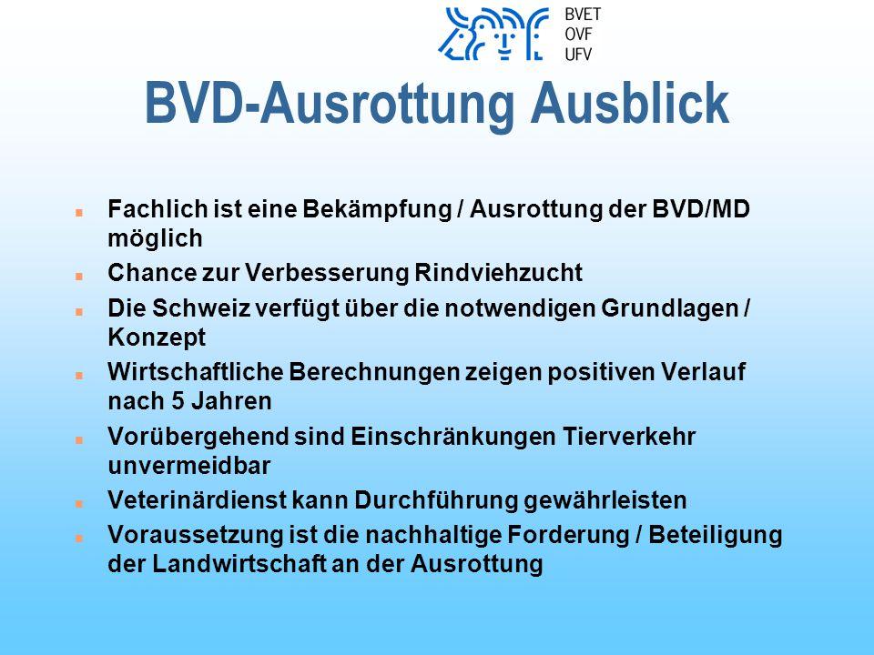 BVD-Ausrottung Ausblick n Fachlich ist eine Bekämpfung / Ausrottung der BVD/MD möglich n Chance zur Verbesserung Rindviehzucht n Die Schweiz verfügt über die notwendigen Grundlagen / Konzept n Wirtschaftliche Berechnungen zeigen positiven Verlauf nach 5 Jahren n Vorübergehend sind Einschränkungen Tierverkehr unvermeidbar n Veterinärdienst kann Durchführung gewährleisten n Voraussetzung ist die nachhaltige Forderung / Beteiligung der Landwirtschaft an der Ausrottung