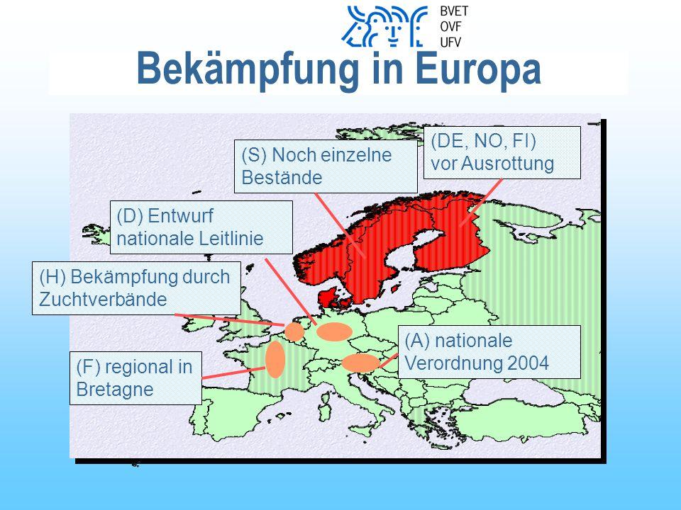 Bekämpfung in Europa (DE, NO, FI) vor Ausrottung (S) Noch einzelne Bestände (D) Entwurf nationale Leitlinie (F) regional in Bretagne (A) nationale Verordnung 2004 (H) Bekämpfung durch Zuchtverbände