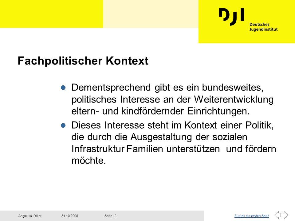Zurück zur ersten Seite31.10.2006Angelika DillerSeite 12 Fachpolitischer Kontext l Dementsprechend gibt es ein bundesweites, politisches Interesse an