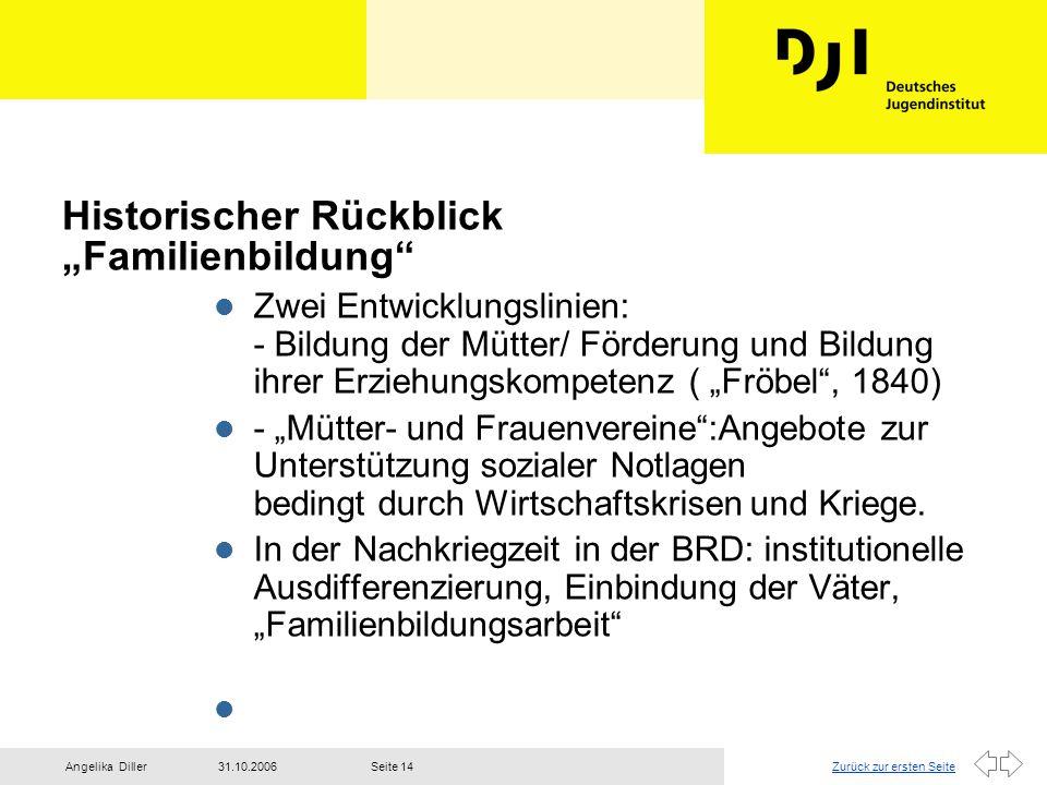 """Zurück zur ersten Seite31.10.2006Angelika DillerSeite 14 Historischer Rückblick """"Familienbildung"""" l Zwei Entwicklungslinien: - Bildung der Mütter/ För"""