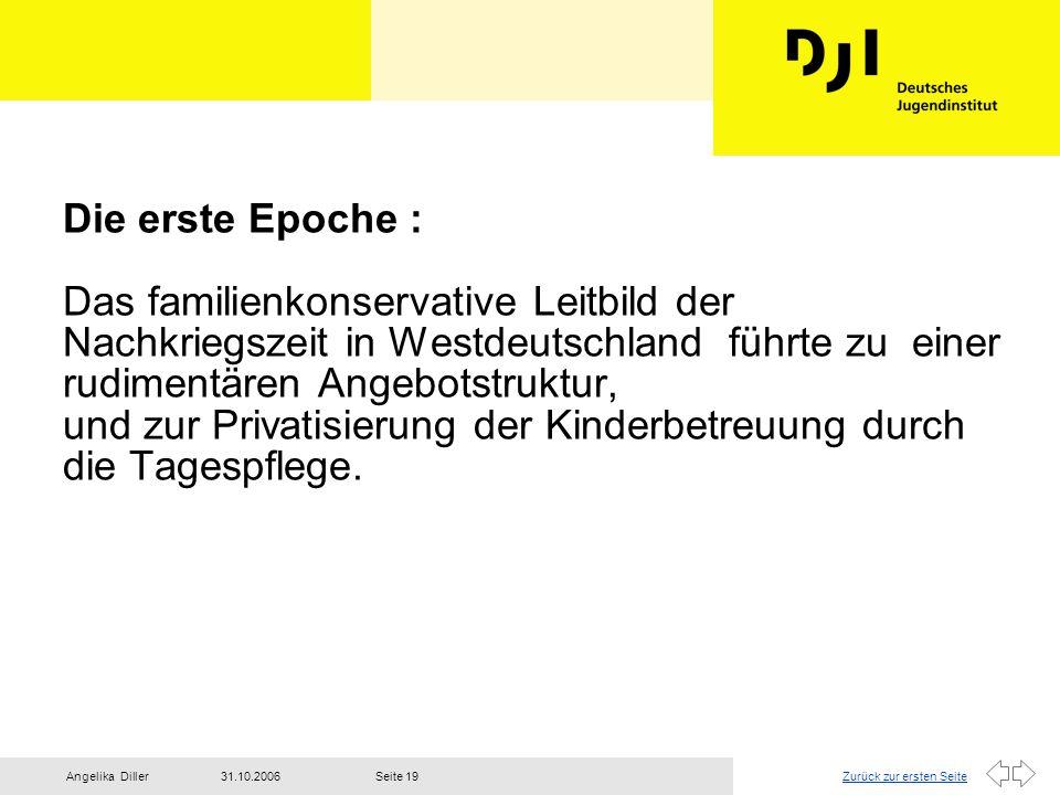 Zurück zur ersten Seite31.10.2006Angelika DillerSeite 19 Die erste Epoche : Das familienkonservative Leitbild der Nachkriegszeit in Westdeutschland fü