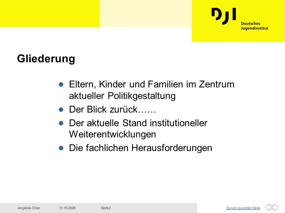 Zurück zur ersten Seite31.10.2006Angelika DillerSeite 2 Gliederung l Eltern, Kinder und Familien im Zentrum aktueller Politikgestaltung l Der Blick zu